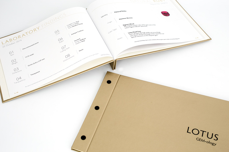 The Lotus Gold hardcover report is available for ruby, sapphire, spinel, jade and a handful of other stones. Lotus Gemology's Richard Hughes designed the world's first deluxe lab report, a concept that has been widely copied by others.
